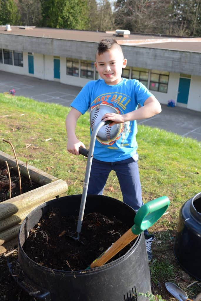 Boy in school garden
