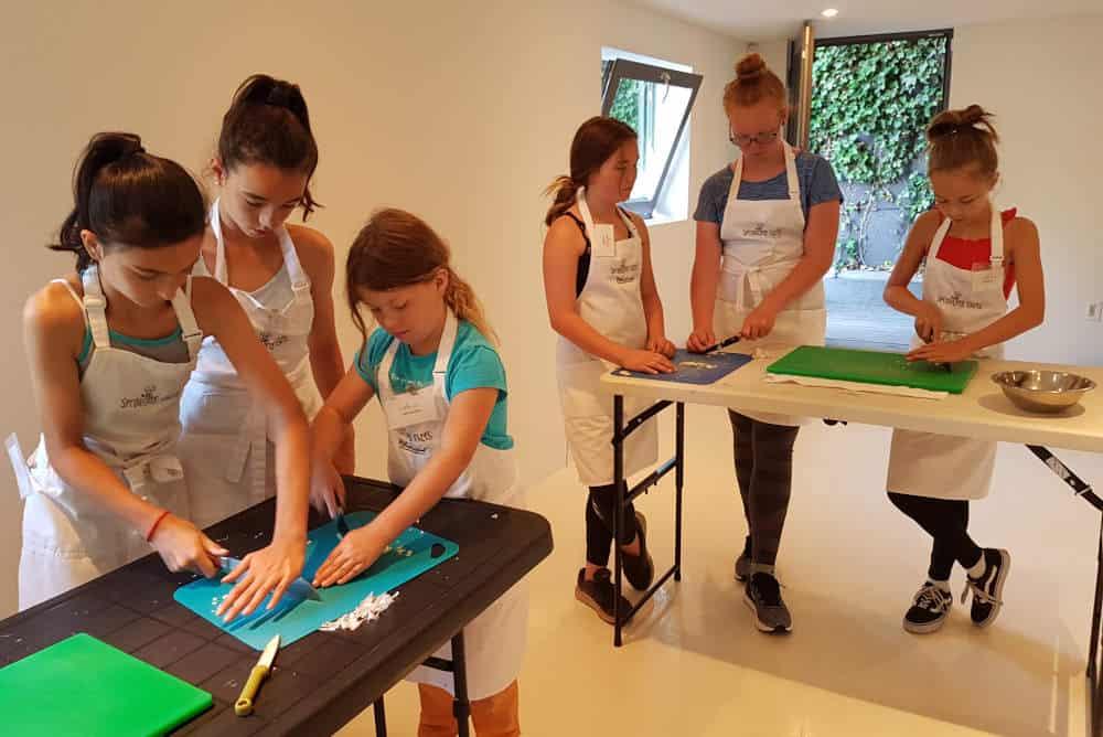 Preparing food at school camp